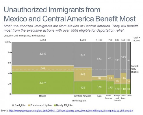 Marimekko Chart of Unauthorized Immigrants by Country and Eligibility
