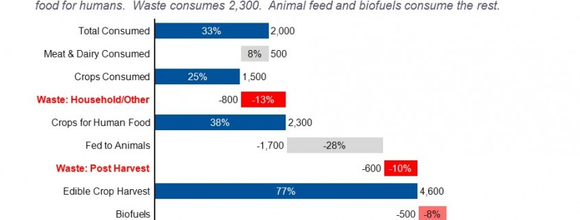 Cascade/waterfall Chart of Converting Crops Produced Into Crops Consumed by Kcals