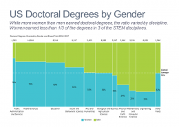 Marimekko chart of US doctoral degrees by discipline and gender